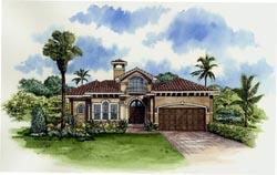 Mediterranean Style Home Design Plan: 37-121
