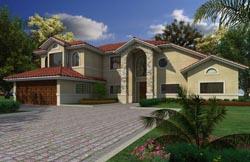 Florida Style Home Design Plan: 37-136