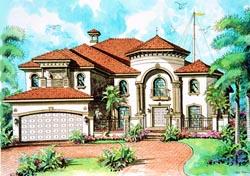 Mediterranean Style Home Design Plan: 37-158