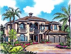 Mediterranean Style Home Design Plan: 37-161
