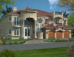 Mediterranean Style Home Design Plan: 37-186