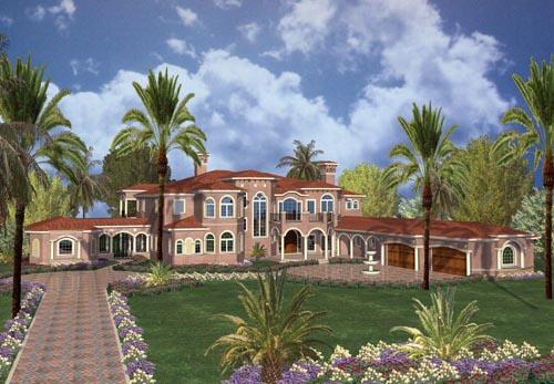 Mediterranean Style Home Design Plan: 37-199