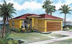 Florida Style Home Design Plan: 37-200