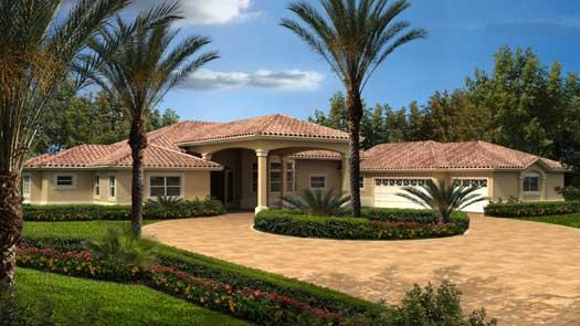 Florida Style Home Design Plan: 37-217