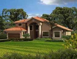 Florida Style Home Design Plan: 37-227