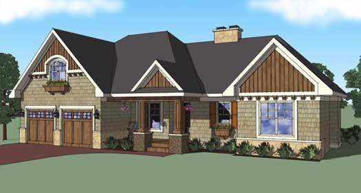 Craftsman Style Home Design Plan: 38-499