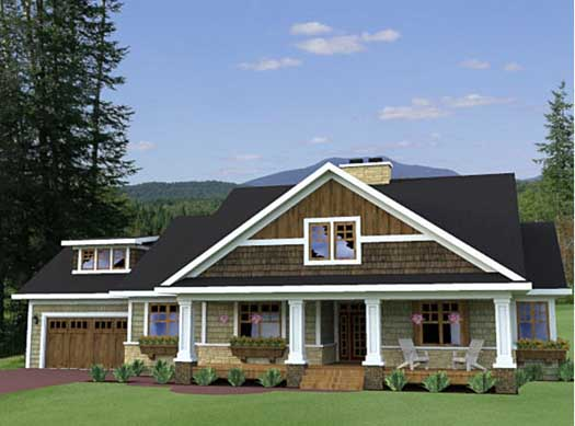 Craftsman Style Home Design Plan: 38-503