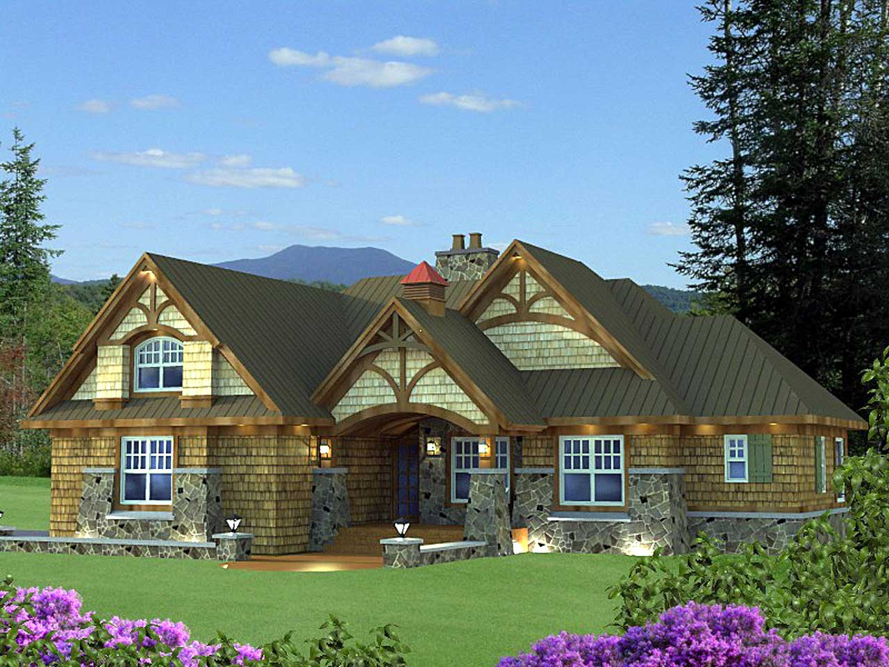 Country Style Home Design Plan: 38-509