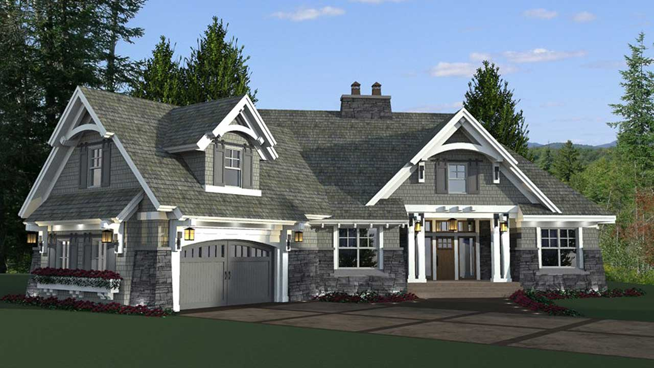 Craftsman Style Home Design Plan: 38-515