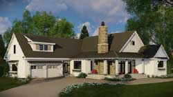 Modern-Farmhouse Style Home Design Plan: 38-519