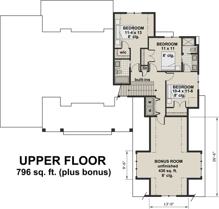 Upper/Second Floor Plan: 38-520