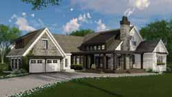 Modern-Farmhouse Style Home Design Plan: 38-525