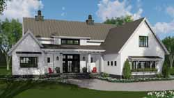 Modern-Farmhouse Style Home Design Plan: 38-527