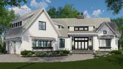 Modern-Farmhouse Style Home Design Plan: 38-528