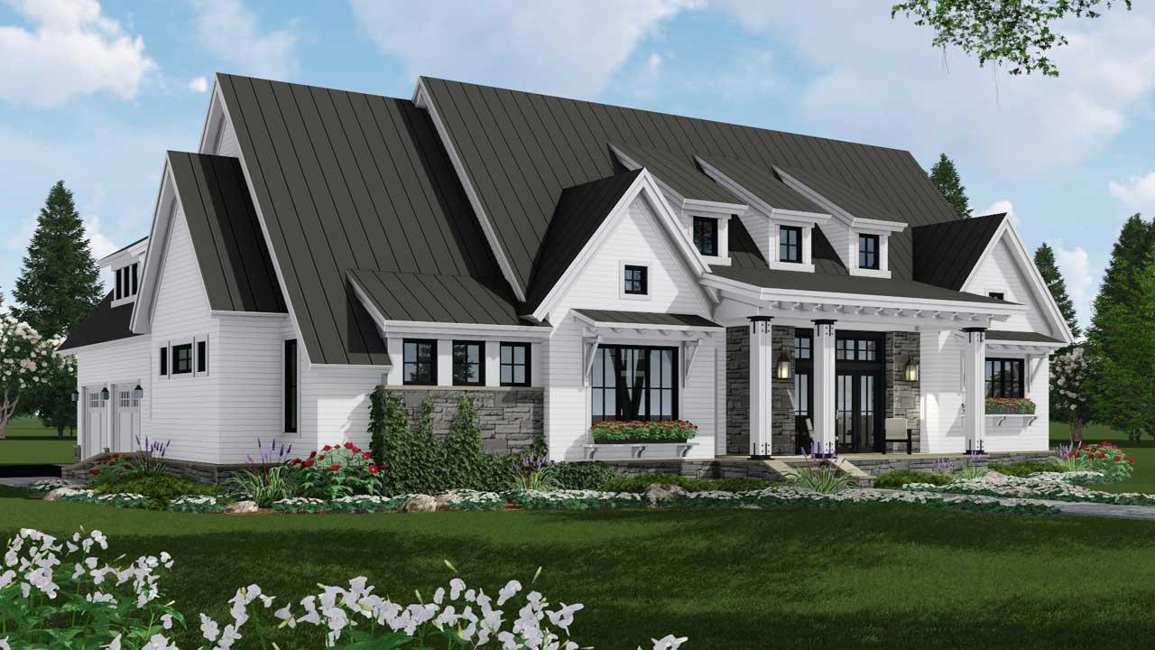 Modern-farmhouse Style Home Design Plan: 38-535