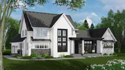 Modern-Farmhouse Style Home Design Plan: 38-537