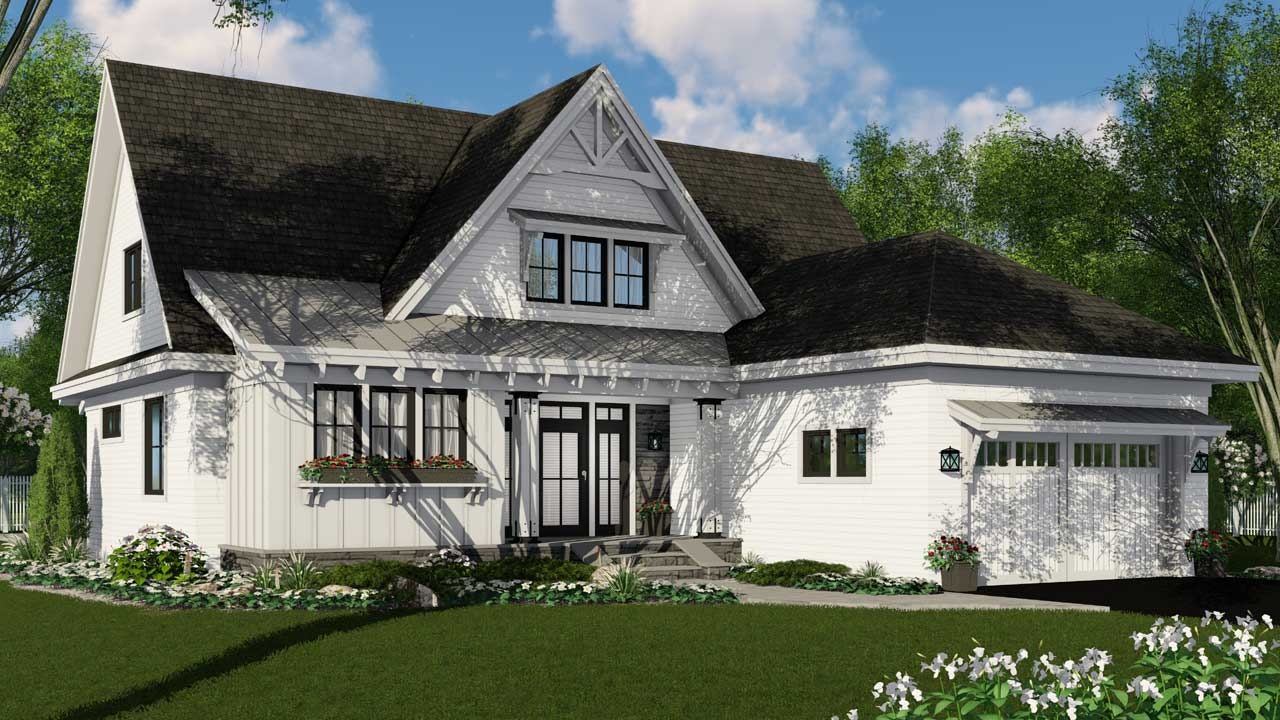 Modern-farmhouse Style Home Design Plan: 38-542