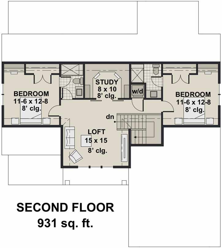 Upper/Second Floor Plan: 38-542