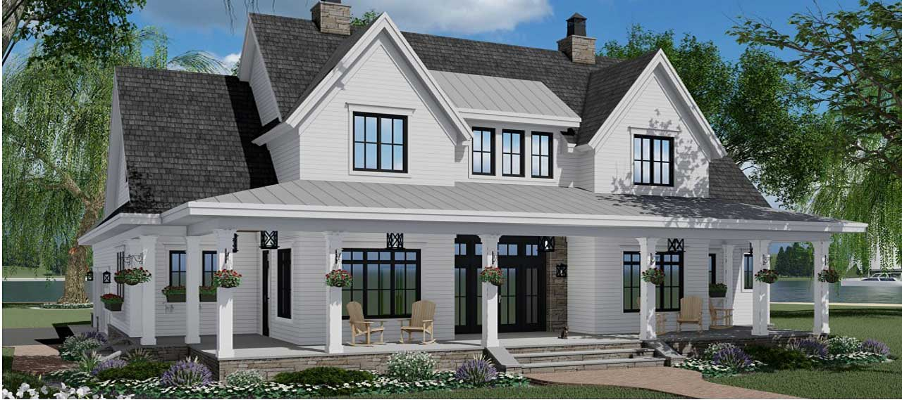 Modern-farmhouse Style Home Design 38-546
