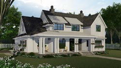 Modern-Farmhouse Style Home Design Plan: 38-548