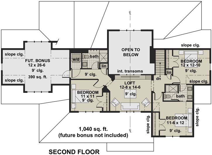 Upper/Second Floor Plan: 38-549