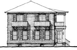 Southern-Colonial Style Home Design Plan: 39-113