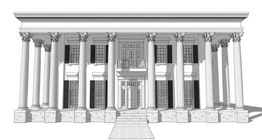 Greek-revival Style Home Design Plan: 39-142