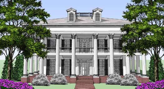 Greek-revival Style Floor Plans Plan: 39-147
