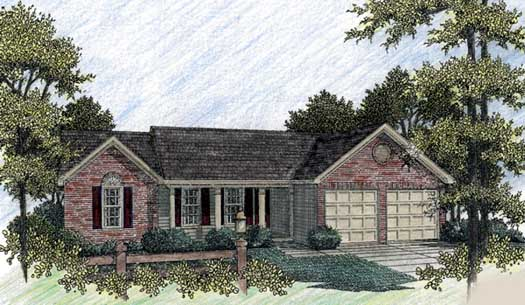 Country Style Home Design Plan: 4-107