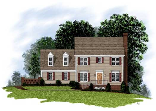 Colonial Style Home Design Plan: 4-128