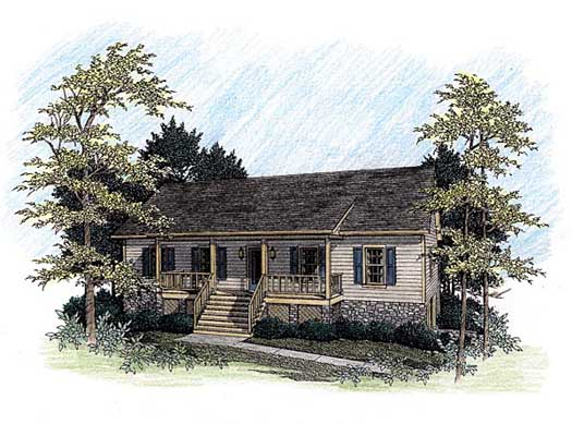 Ranch Style Home Design Plan: 4-140