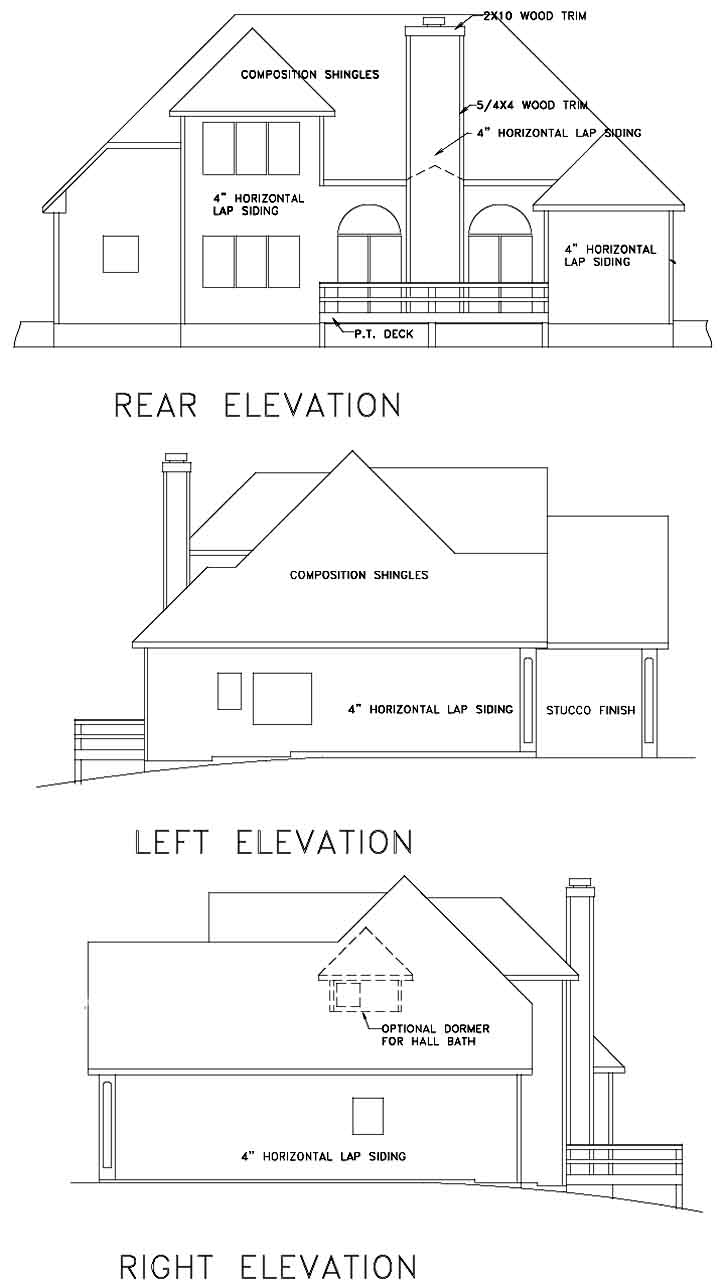 Rear Elevation Plan: 4-148