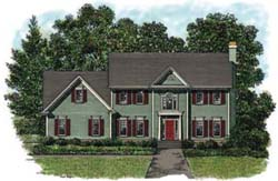 Colonial Style Home Design Plan: 4-159