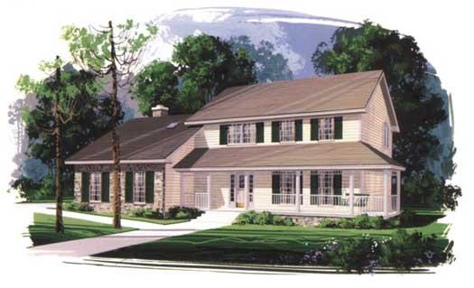 Farm Style Home Design Plan: 4-174