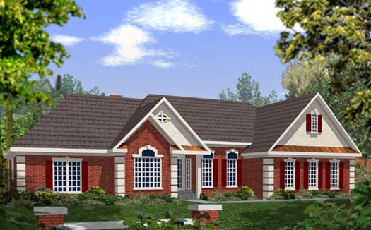 Southern Style Home Design Plan: 4-178