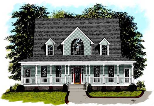 Country Style Home Design Plan: 4-180