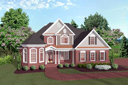 Traditional Style Home Design Plan: 4-181