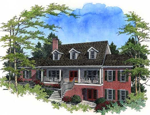 Country Style Home Design Plan: 4-193