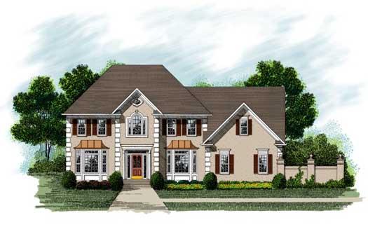 European Style Home Design Plan: 4-230