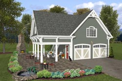 Country Style Home Design Plan: 4-245