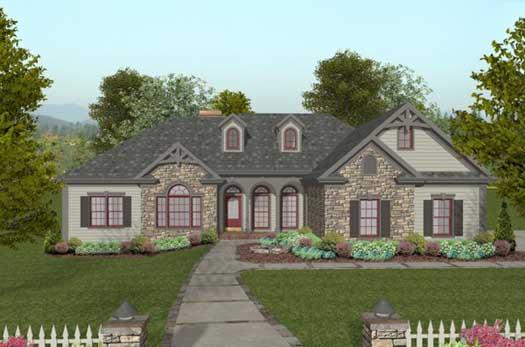 European Style Home Design Plan: 4-260