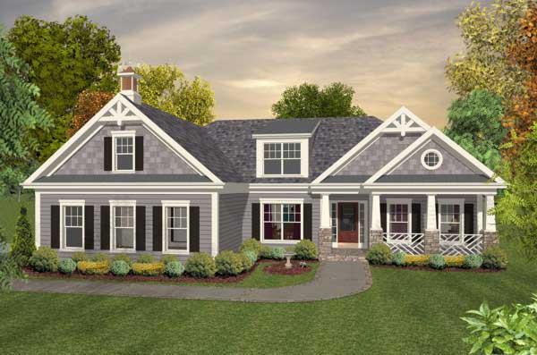 Craftsman Style Home Design Plan: 4-294