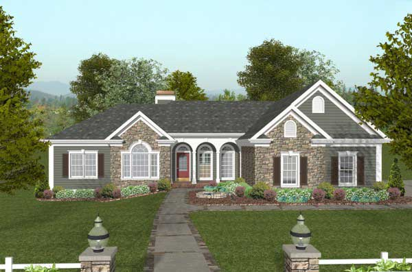 Southern Style Home Design 4-297