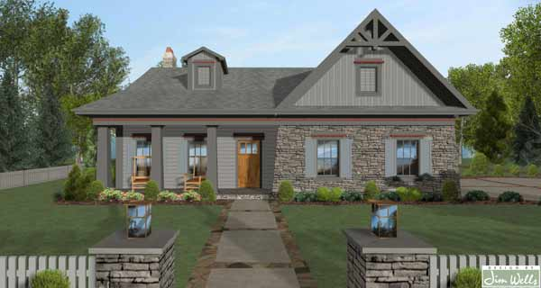 Craftsman Style Home Design Plan: 4-319
