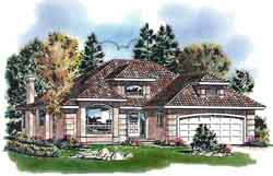 Southwest Style Home Design Plan: 40-605