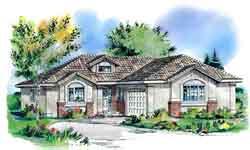 Southwest Style Home Design Plan: 40-607