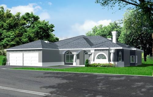 Mediterranean Style Home Design Plan: 41-1065