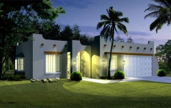 Santa-Fe Style Home Design Plan: 41-405
