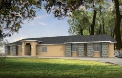 Southwest Style Home Design Plan: 41-746