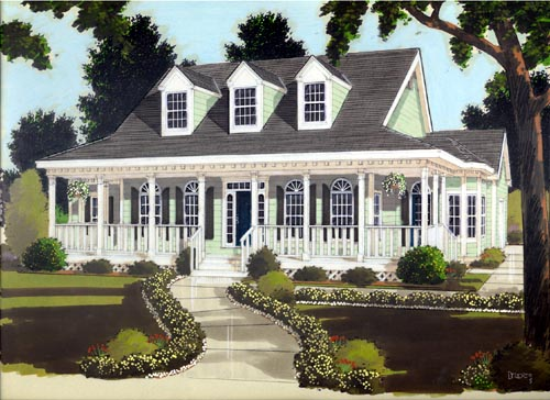 Country Style Home Design Plan: 43-128